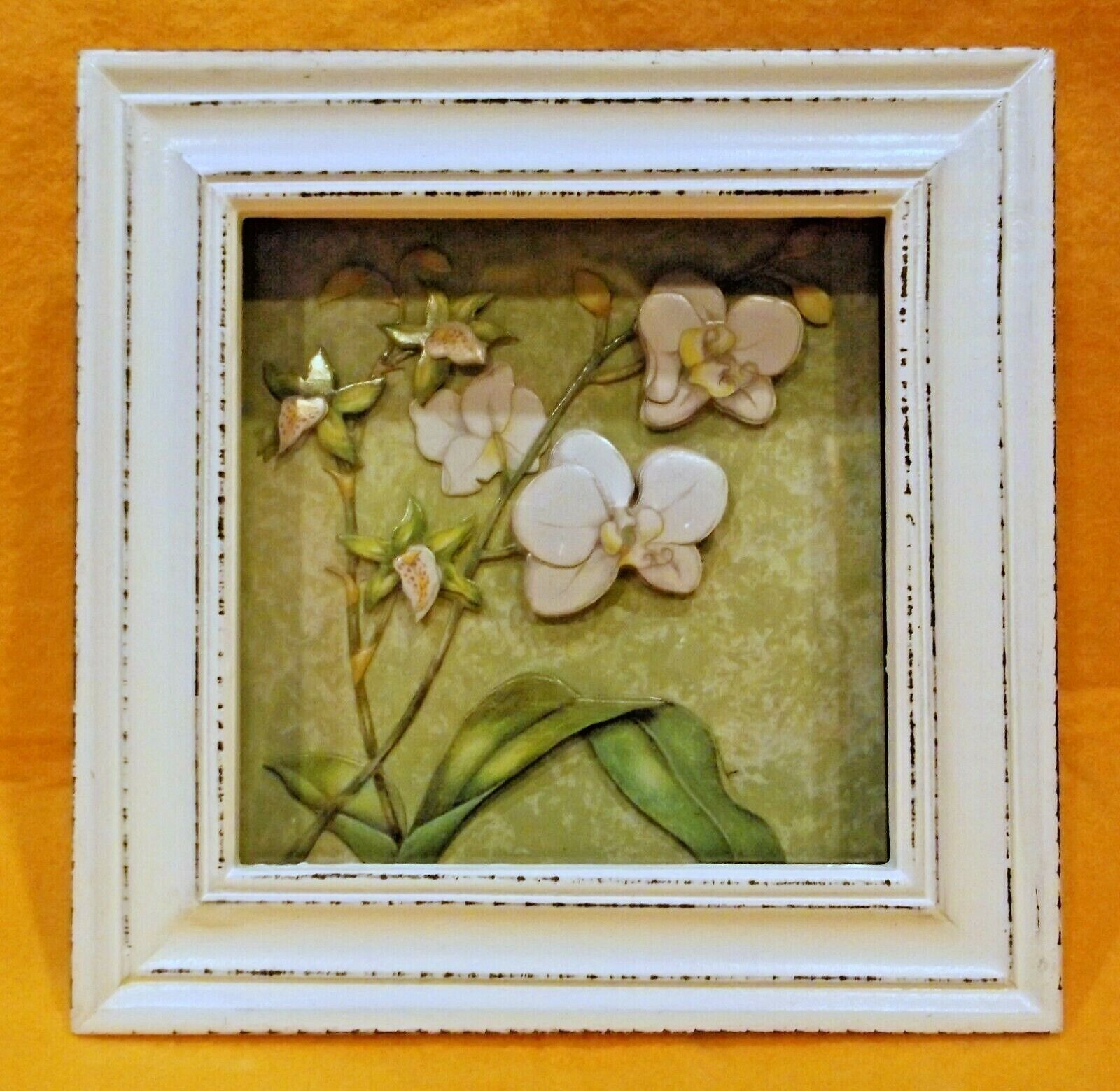 AMBIANCE COLLECTIONS SHADOW BOX SMALL ORCHID FLOWERS & LEAVE