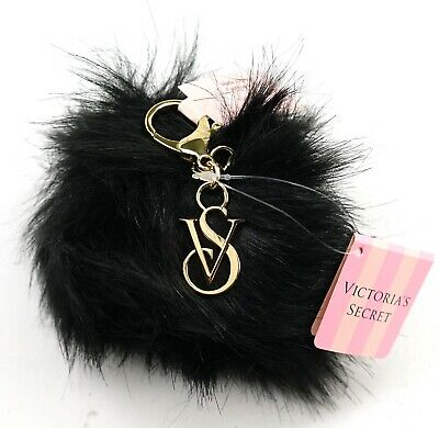 New Victoria's Secret Black Off Duty Faux Fur Pouf Pom Pom Key Chain