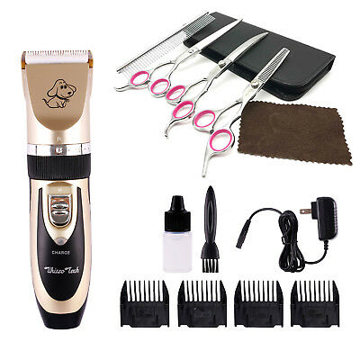 Professional Mute Pet Cat Dog Hair Clipper Trimmer Shaver Cordless Scissors Set Dog Hair Trimmers