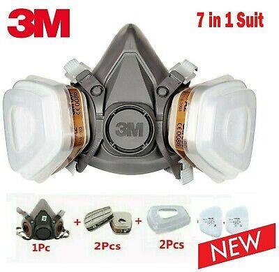 3M Atemschutzmaske 6200 Halbmaske Gasmaske Staubmaske Lackiermaske 7in1 1AA