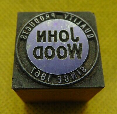 Vintage Printing Letterpress Printers Block John Wood Quality Products
