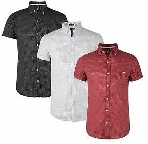 New-Soul-Star-Mens-Slim-Fit-Shirt-Short-Sleeve-Cotton-Poker-Dott-Spot-Dotted