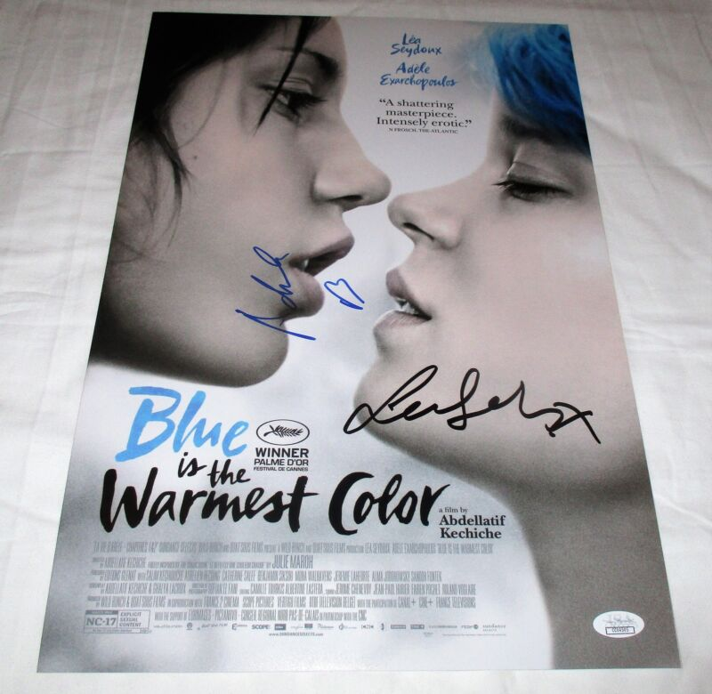 LEA SEYDOUX & ADELE EXARCHOPOULOS SIGNED BLUE IS THE WARMEST COLOR 12X18 MOVIE P