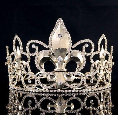 Large Full King's Metal Crown Austrian Rhinestone Crystal Fleur-De-Lis Wed T82g (Metal King Crown)