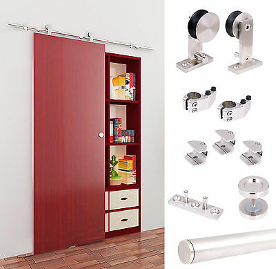 5 FT Modern Stainless Steel Interior Sliding Barn Wood Door Hardware Track Set