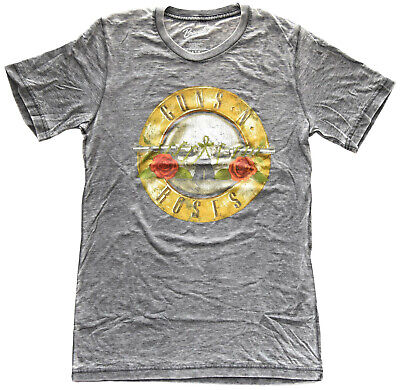 Guns N Roses Bullet Logo Grey Burnout Men's T-Shirt New (sizing runs large)