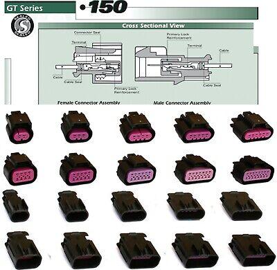 Delphi 23456-16 Pin Gt150 Male Female Seal Connector Terminals 182022 Ga