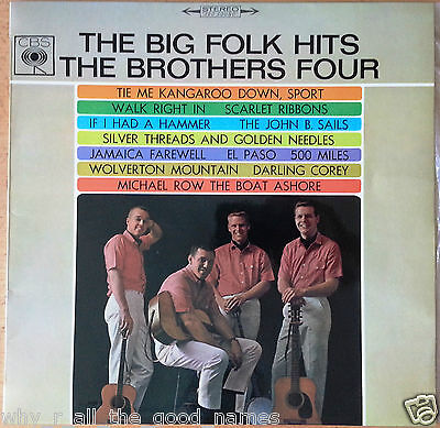 Vintage Lp Record Album Big Folk Hits  The Brothers Four Cbs Sbs 233073 60S 70S