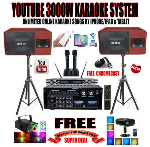 YOUTUBE UNLIMITED SONGS PROFESSIONAL 3000W KARAOKE SYSTEM IPHONE/IPAD & TABLET