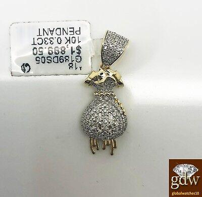 Real 10k Yellow Gold and diamond Money Bag Charm/Pendant for men/women, Angel.