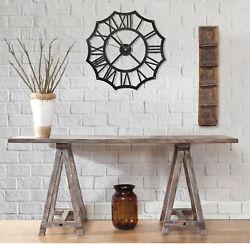 Metal Polygonal Wall Clock, Black Round Wall Clock, Decorative Hanging Clock