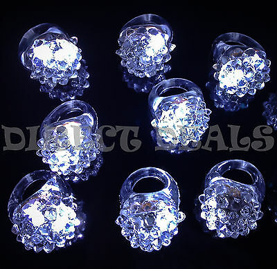 12 Pcs White LED Light Up Jelly Ring Rave Club Party Favors Glow Halloween Dance](Jelly Halloween)