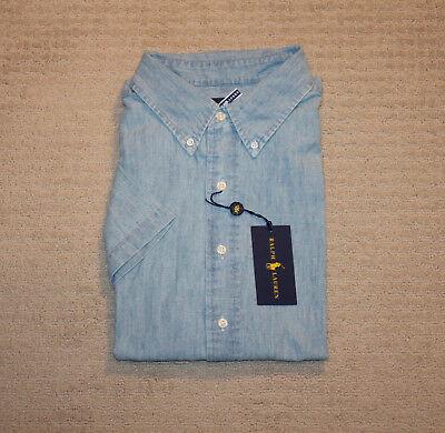 Big And Tall Short Sleeve Shorts - New Polo Ralph Lauren Big and Tall Short Sleeve Pony Logo Chambray Shirt
