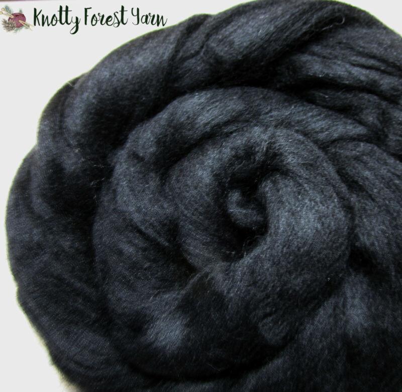 8 OUNCES Black MERINO CB TOP ROVING Dyed Wool Spinning Dolls Crafts Felting