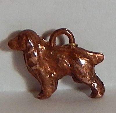 VINTAGE COCKER SPRINGER SPANIEL DOG GUMBALL CHARM COPPER CLAD