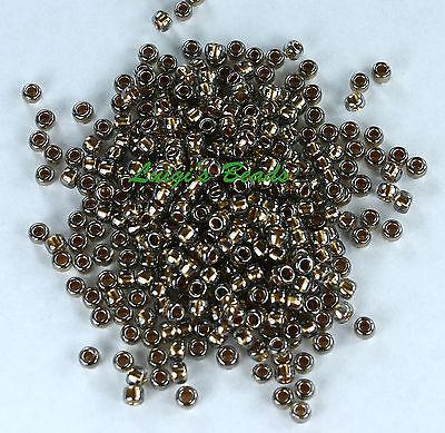 8/0 Round TOHO Glass Seed Beads #993-Gold-Lined Black Diamond 10 grams
