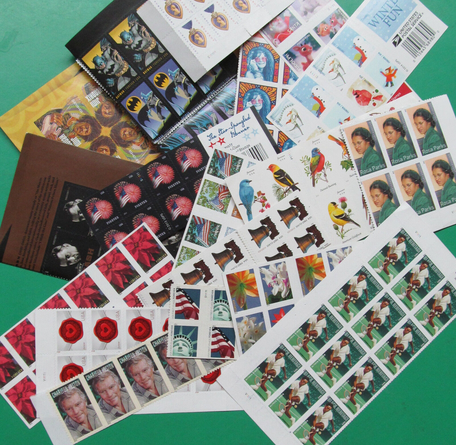 110 Assorted Mixed Designs Partial Panes & Pieces US PS FOREVER STAMPS FV $55.00