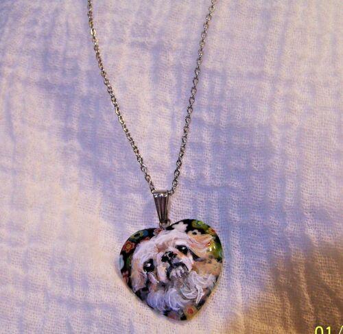 "hand painted Pekingese on Italian glass heart pendant stainless steel 18""  chain"
