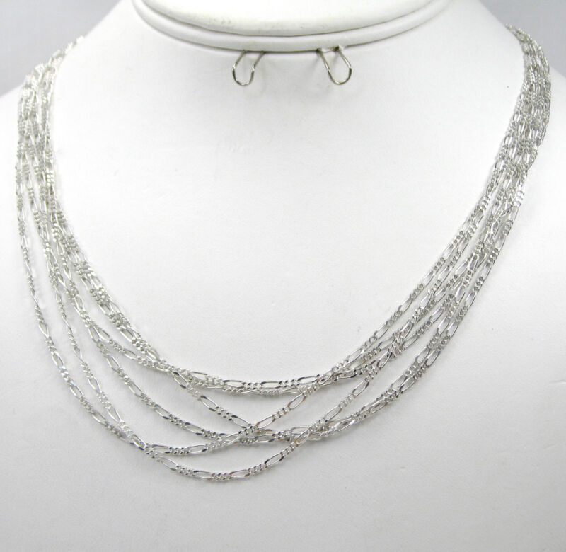 """Wholesale Lot of 6 FIGARO Chain 18"""" 925 Sterling Silver Necklaces F515"""