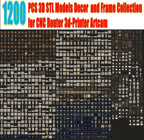 1200pcs 3d STL Models Decor and frame Collection HUGE SET for CNC Router Artcam