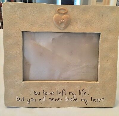 """NEW Pet Memorial Picture Frame Dogs Cats 4"""" x 6""""  Angel Halo Heart Paw Print"""