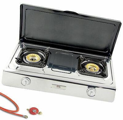 Acero Inox Cocina de Gas 2 Fuegos con Tapa 9Kw Fogón de...