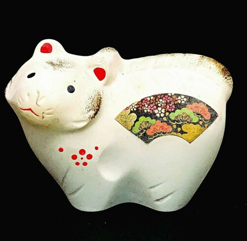 Japanese White Clay Pottery Dorei Vintage Zodiac Tiger Lucky Charm Fortune Gift