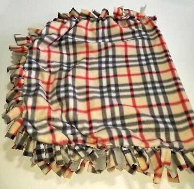 Cute Plaid Fleece Tie Blanket Sm to Lg Pet Dog Cat or Baby