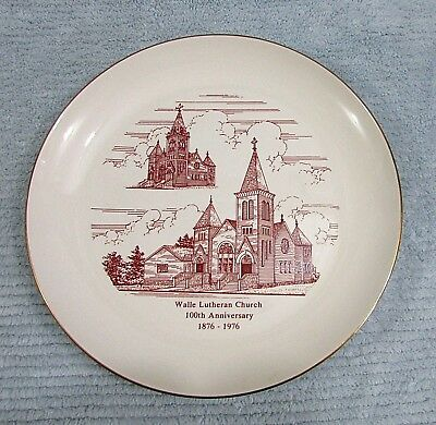 "100th 1876-1976 Lutheran Church Walle ND Vintage North Dakota 10"" Plate FREE S/H"