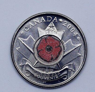Canada  2004 Poppy Remembrance Day Colored Quarter 25Cents   Unc