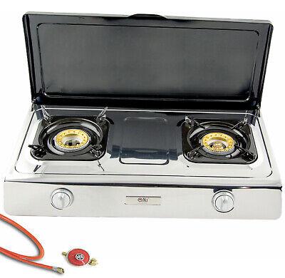 NSD-2C Acero Inox Cocina de Gas 2 Fuegos con Tapa 9Kw Fusible...