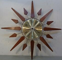 VTG Mid Century Modern 21 Sears 7537 Starburst Sunburst Wall Clock Battery
