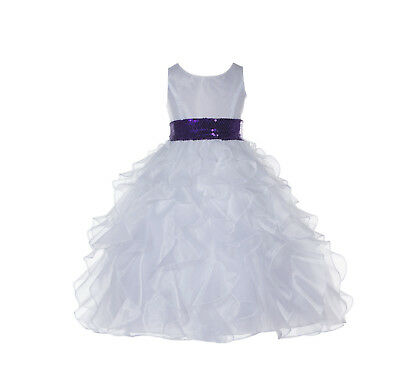 New Wedding Pageant White Ruffled Organza Flower Girl Dress Sequin Toddler 168mh
