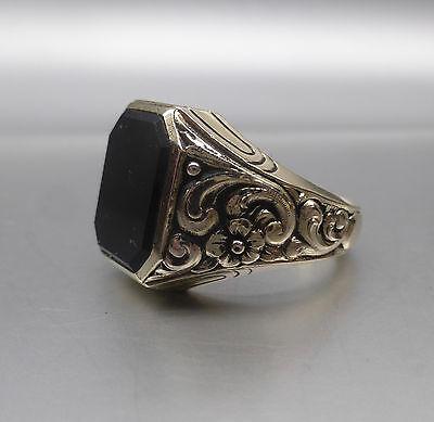 Schwerer antiker Herren- Ring, Silber 835, Onyx, Gr. 63, sehr schöne Arbeit