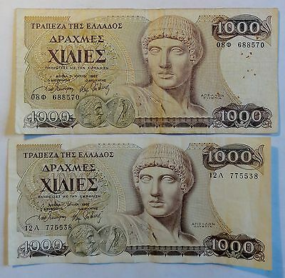 Greece / Griechenland - 2 x 1.000,- (1000,-) Drachmen 1987 (B62