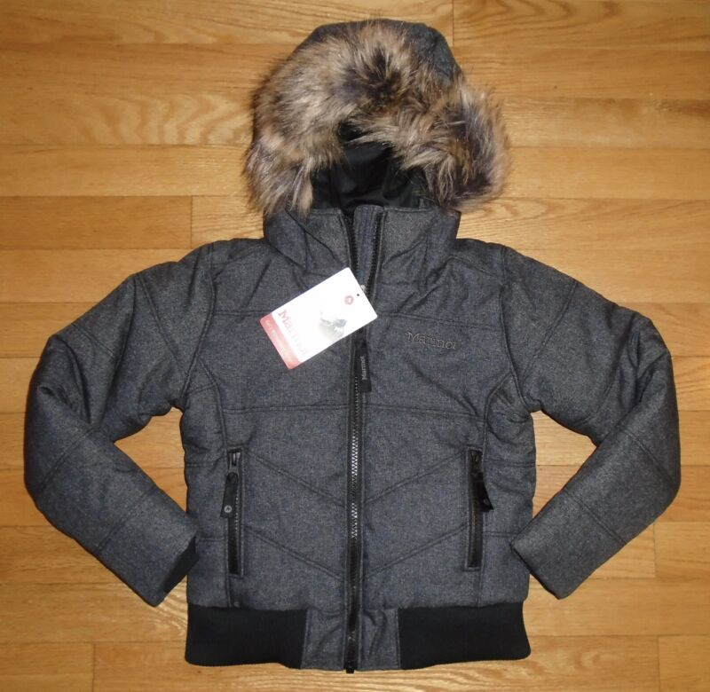 Marmot Girls Jacket Williamsburg Black Faux Fur Trim Youth XS 4 5 NWT $200