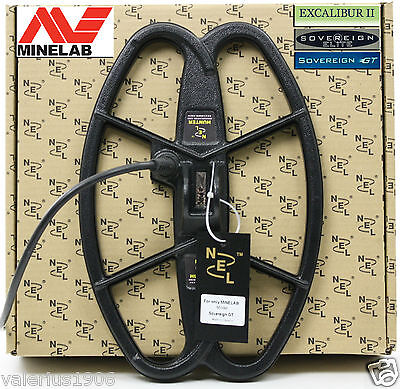 "New NEL HUNTER 12.5""x8.5"" DD coil for Minelab Sovereign/Excalibur + cover + bolt"