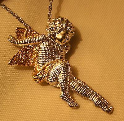 Delightful Grid Finish Two-Tone Lounging Angel Cherub Pendant Necklace Brooch