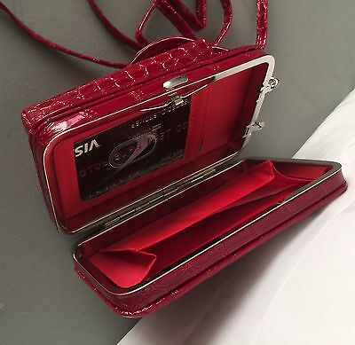 New all in one compact ladies wallet red croco with detachable cross body strap