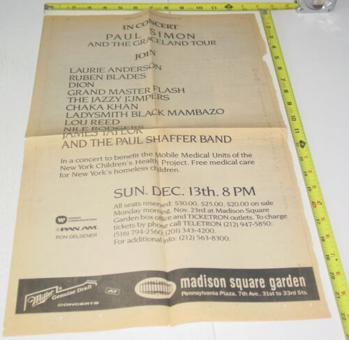 Paul Simon Full Page Concert AD Advert November 1987 MSG NYC Pop Soul Folk Rock