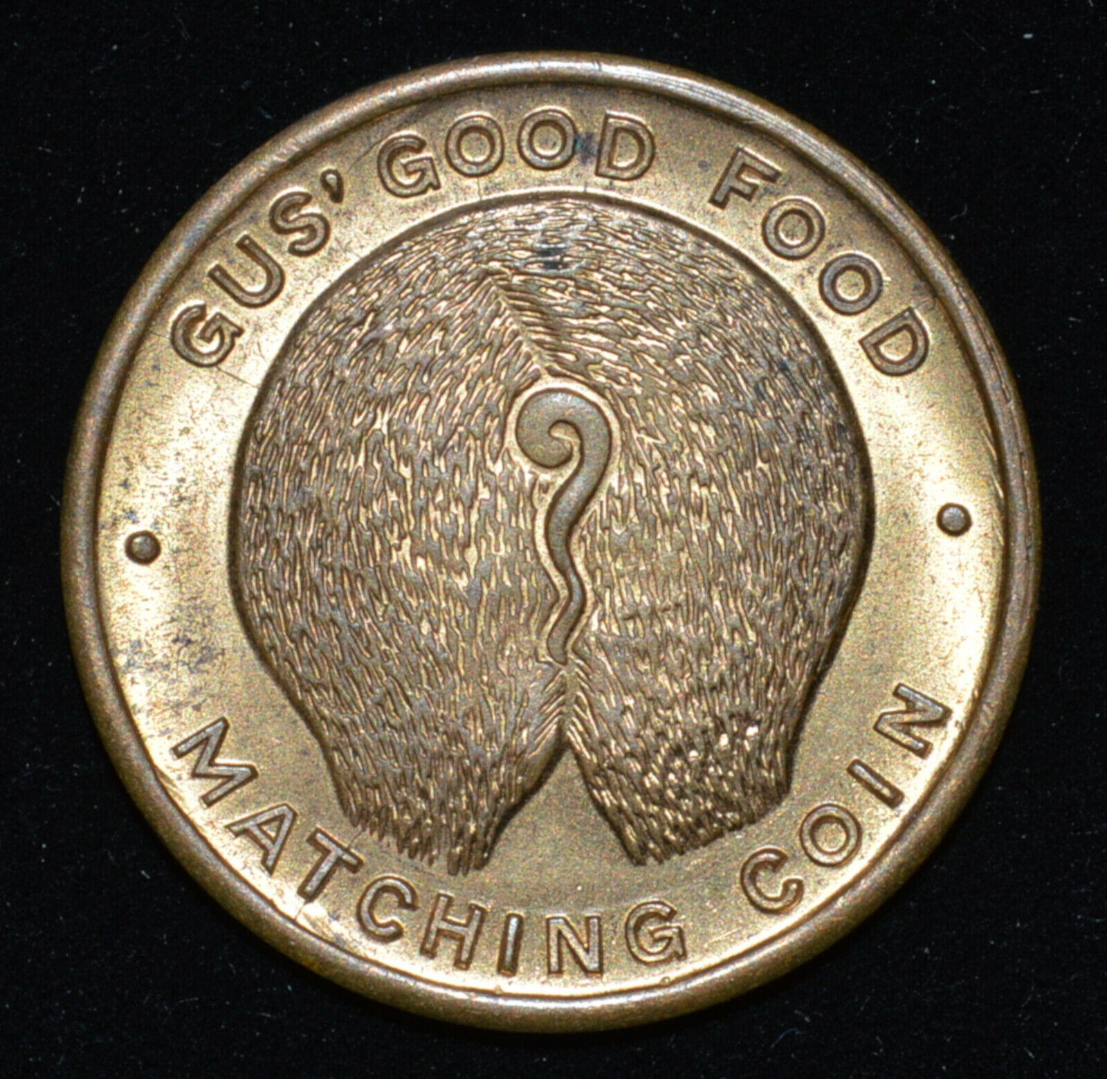 Gus' Good Food Pig Butt Token Chicago 1930's? Matching Coin TC-360046