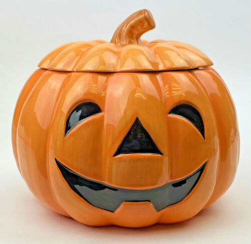 Vintage Orange & Black Halloween Cookie Jar Pumpkin JACK O LANTERN