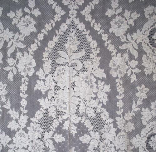 "Antique Lace Tablecloth, 1920s French Alencon Lace Banquet, 129 x 69"""