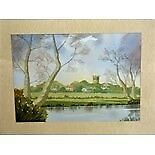 PAUL ADAMS, 'Pershore across the Avon', an original watercolour,