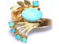 DAZZLING 14CT RETRO MEN'S TURQUOISE RING GREAT WORK OF ART MADE IN ENG FULLY HALLMARKED J4U 2 WEAR