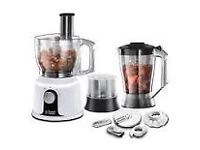 BRAND NEW RUSSELL HOBBS FOOD PROCESSOR WITH ATTACHMENTS