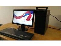 SSD FAST Lenovo Small Tower Form Computer Desktop PC & 19 LCD Widescreen