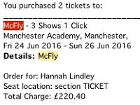 x2 McFly Tickets in Manchester (3 days) 12th-14th Sept