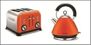 morphy richards orange kettle 4 slice toaster ebay. Black Bedroom Furniture Sets. Home Design Ideas