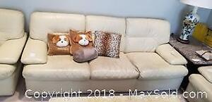 Beige Leather Couch C